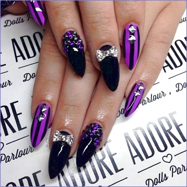 Nail Designs for Stiletto Nails You Must Try This Year. Black And Purple ... - Nail Designs For Stiletto Nails You Must Try This Year Http