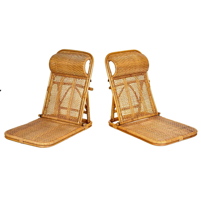 Rattan and Wicker Folding Beach Chairs Pair