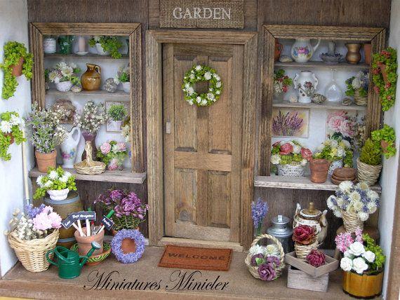 Miniature Dollhouse Flower Shop Porch Set Scale 1 12