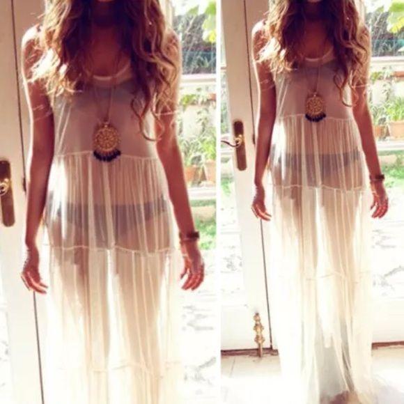 bcdd787515 White Sheer Maxi Beach Cover Up Dress Chiffon boho New - bohemian sundress  Boho Dresses