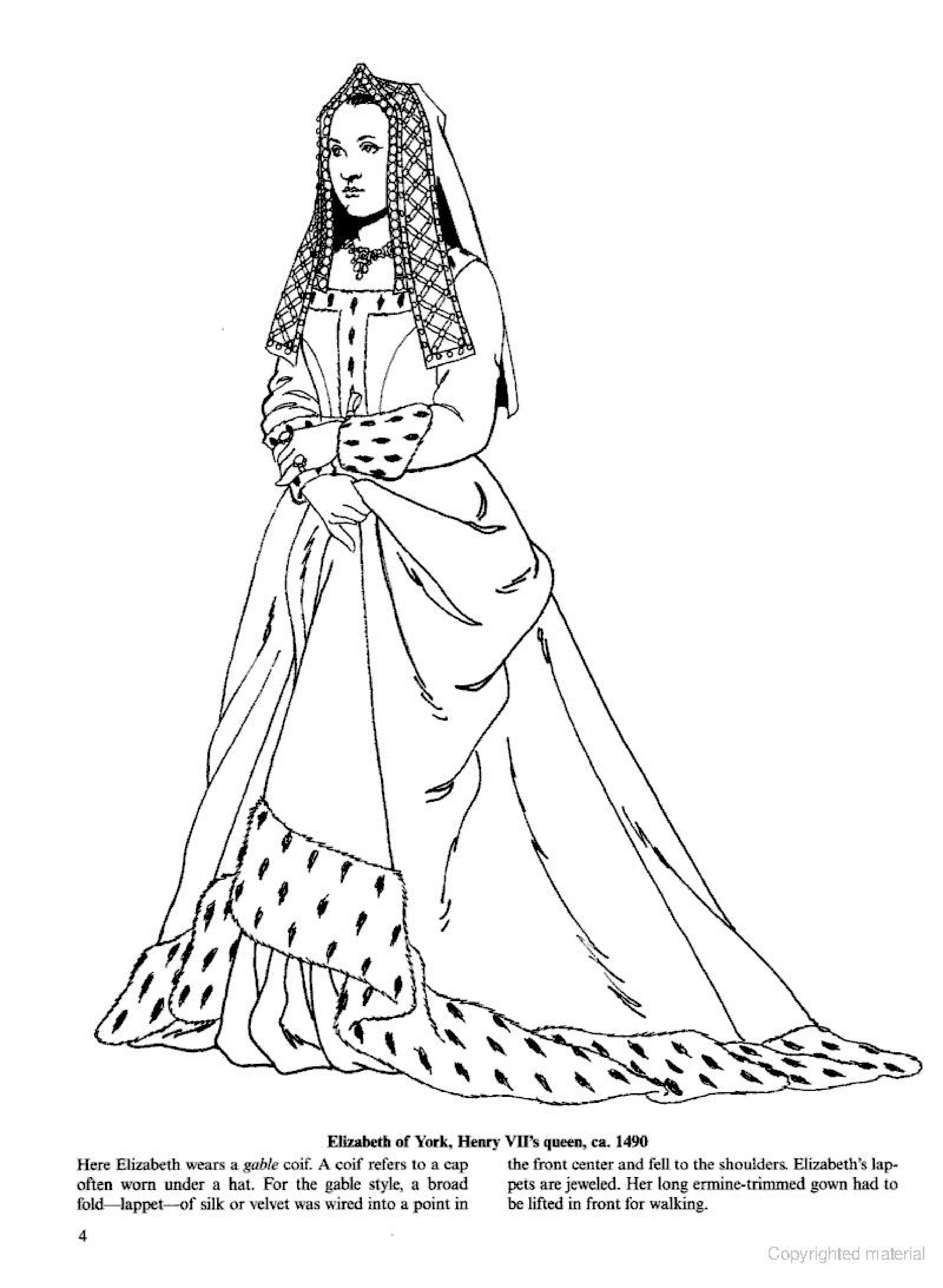 Elizabeth Of York 1490 Coloring Page Colorful Fashion Fashion Coloring Book Historical Fashion