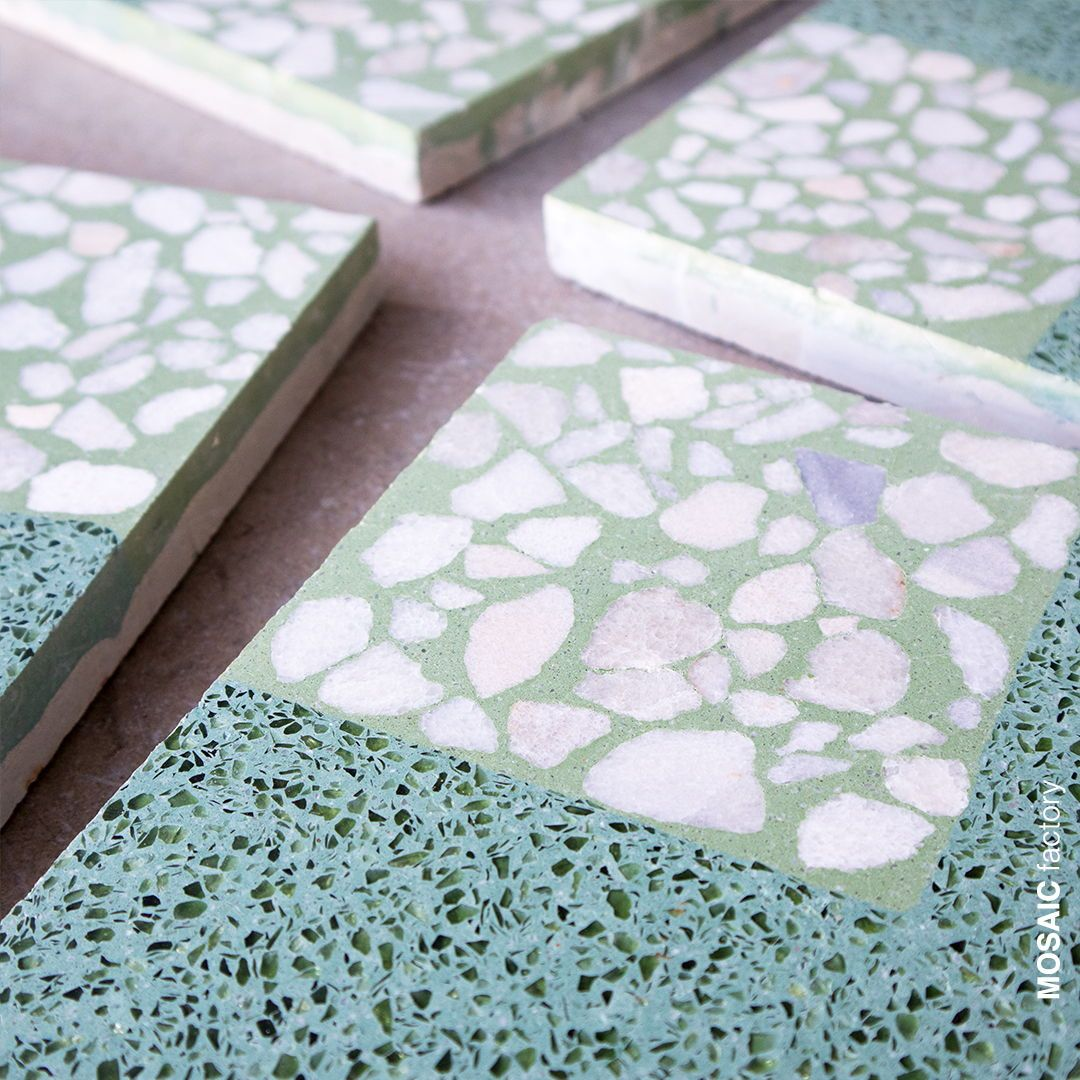 Decorative Green Terrazzo Tile With Geometric Pattern With