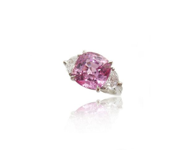 Unheated Cushion Cut Pink Sapphire, 5.08cts, with Half Moon Cut Diamonds, 0.68cts, set in a Diamond Pave, 0.17cts, and Platinum Band