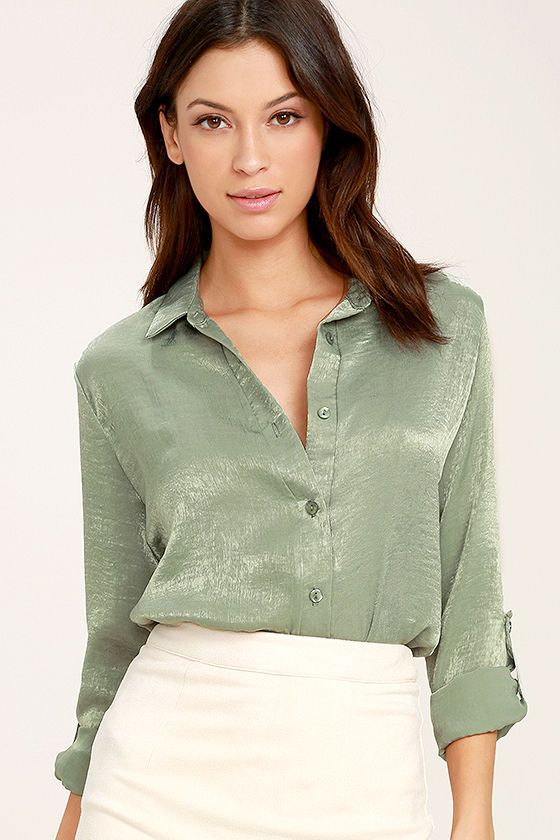 29737708e74 Show 'em who's in charge in the Boss Lady Sage Green Satin Button-Up Top!  Silky satin fabric forms this classic button-up top with a collared  neckline, ...