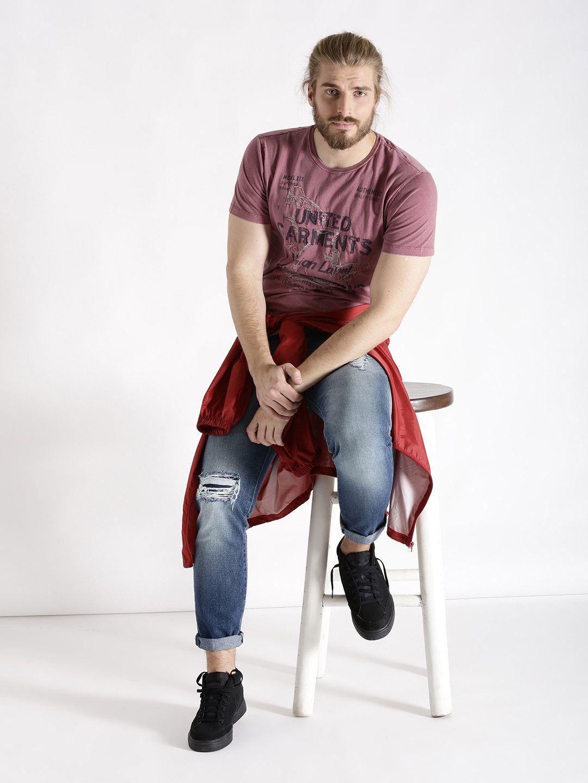 S Oliver Pink Printed Slim Fit Round Neck T Shirt Neck T Shirt S Oliver Shirt Online