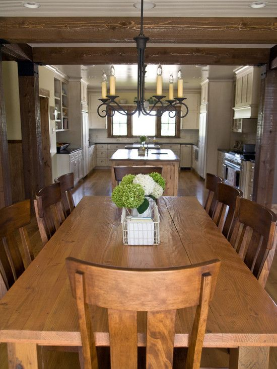 Nice Large Kitchen Flows Into Dining Room With Large Country Farm Style Table Beautif Rustic Kitchen Tables Farmhouse Dining Room Farmhouse Dining Room Table