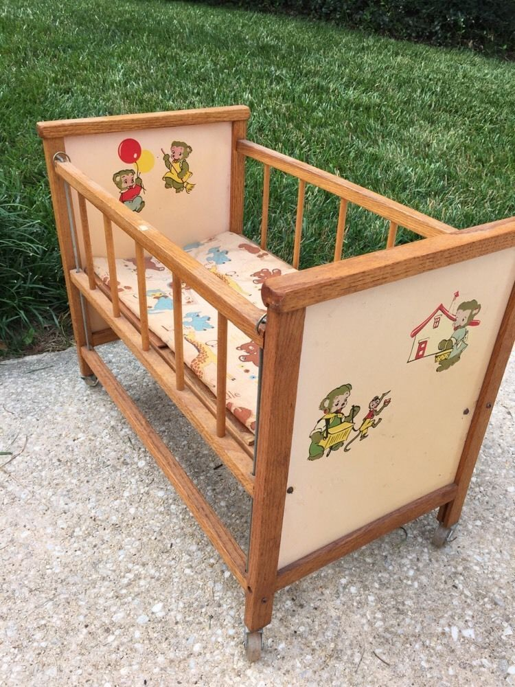 Vintage 1950's Doll Bed Crib, Wood by Cass Toys
