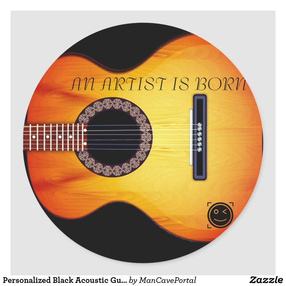 Create Your Own Sticker Zazzle Com Black Acoustic Guitar Create Custom Stickers Personalised