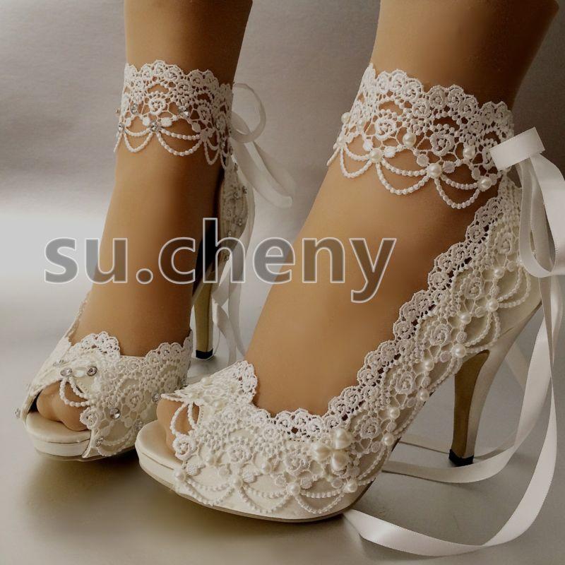 """su.cheny 3/"""" 4"""" heel white ivory satin lace ribbon open toe Wedding Bridal shoes"""