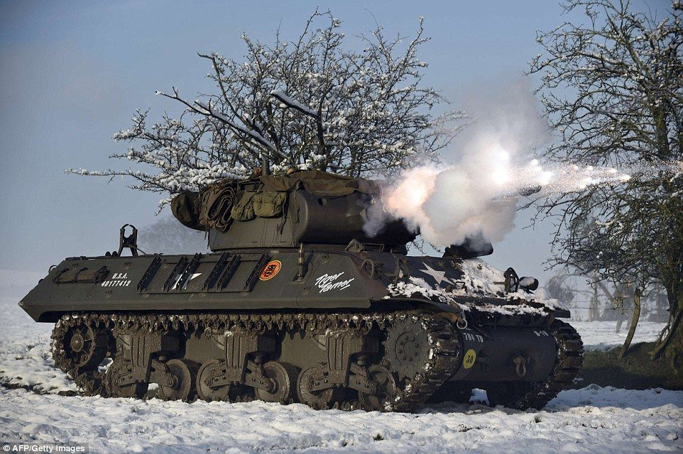A U.S. M36 Jackson tank destroyer was also used for the 70th anniversary commemoration, wh...