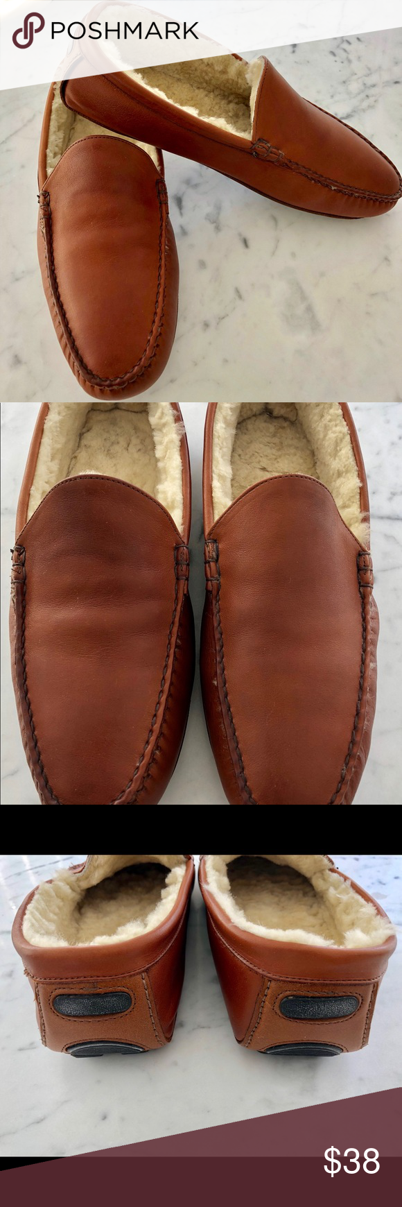 bb8d5c30a0fc Men s leather fleece lined slippers. Nicely made leather driving slippers  with shearling lining. Barely