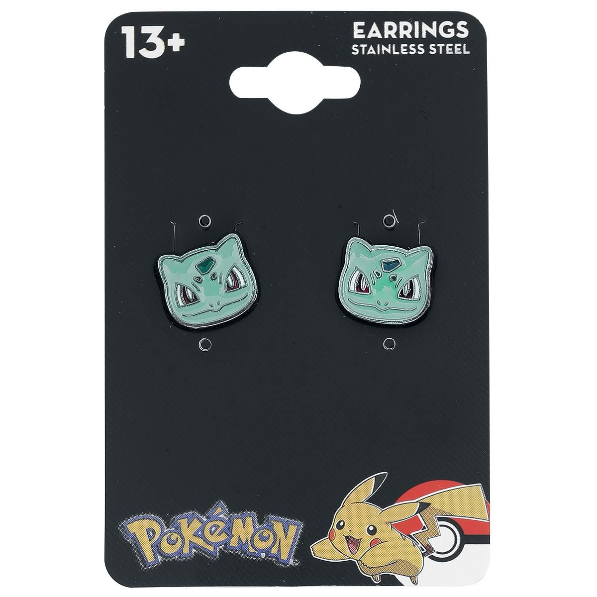 - Stud earrings set - With Bulbasaur head design - Diameter: approx. 1 cm  Are you a true 'Pokémon' fan? Then you should definitely take a closer look at these ear studs. With two Bulbasaurs in the set, you'll always have this Pokémon by your side. In case you receive an unexpected challenge, you can strike back with your Bulbasaur.