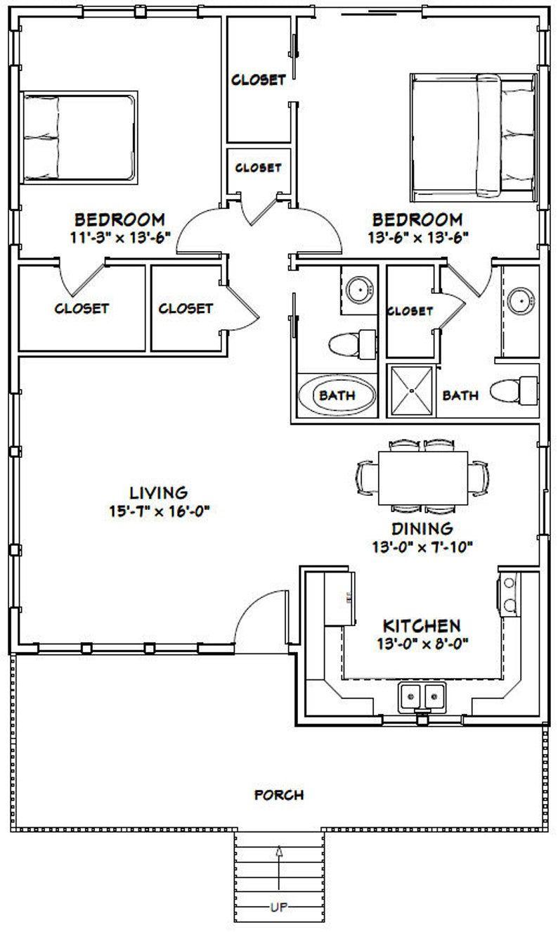 30x40 House 2 Bedroom 2 Bath 1136 Sq Ft Pdf Floor Etsy Small House Floor Plans 30x40 House Plans 2 Bedroom House Plans
