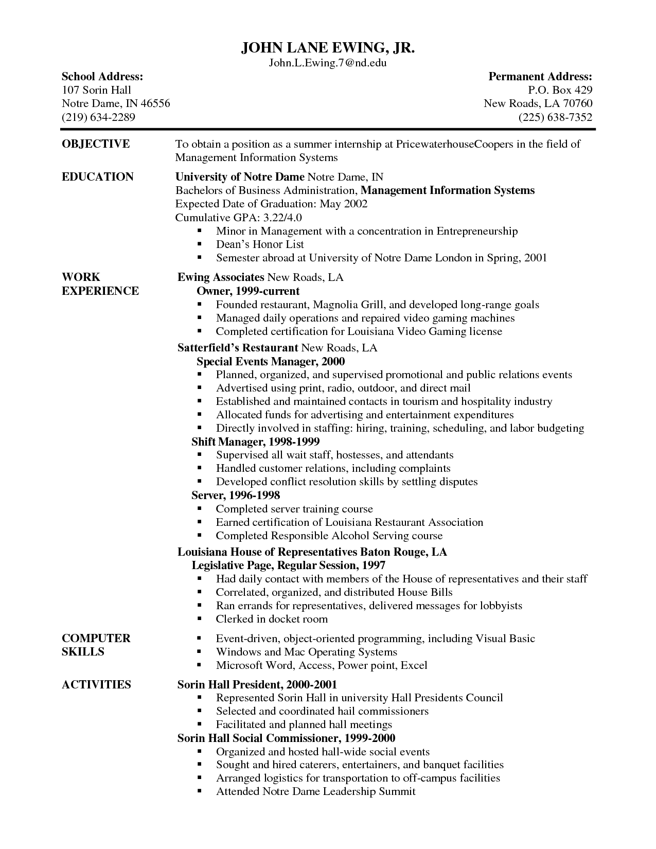 Server Resume Skills Template Doc Serving Job Examples Description