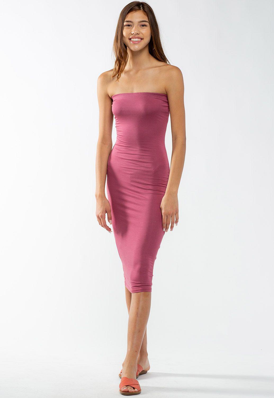 Basic Strapless Bodycon Midi Dress Shop New Arrivals At Papaya Clothing Midi Dress Bodycon Dresses Midi Dress [ 1500 x 1035 Pixel ]