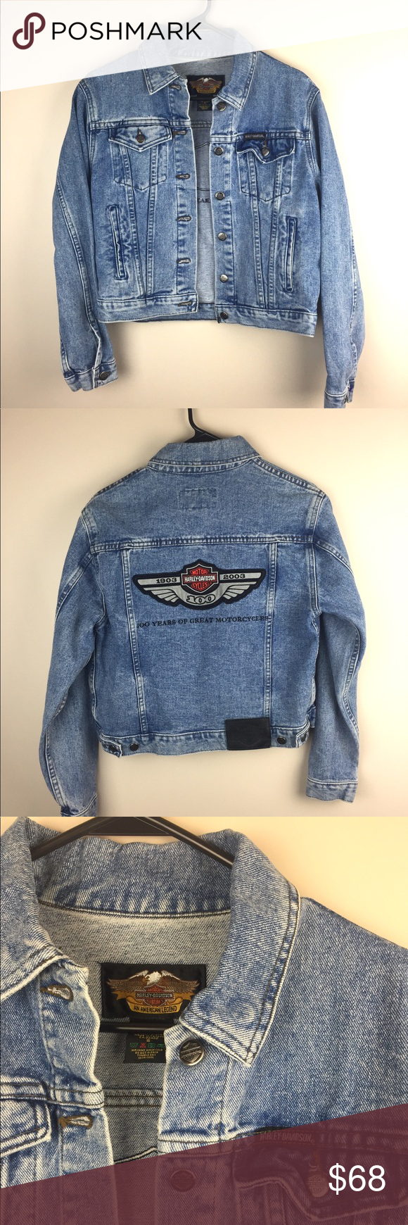 Harley Davidson 100 Year Anniversary Denim Jacket Denim Jacket Denim Jacket Women Jackets [ 1740 x 580 Pixel ]