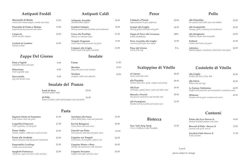 ecco menu nyc