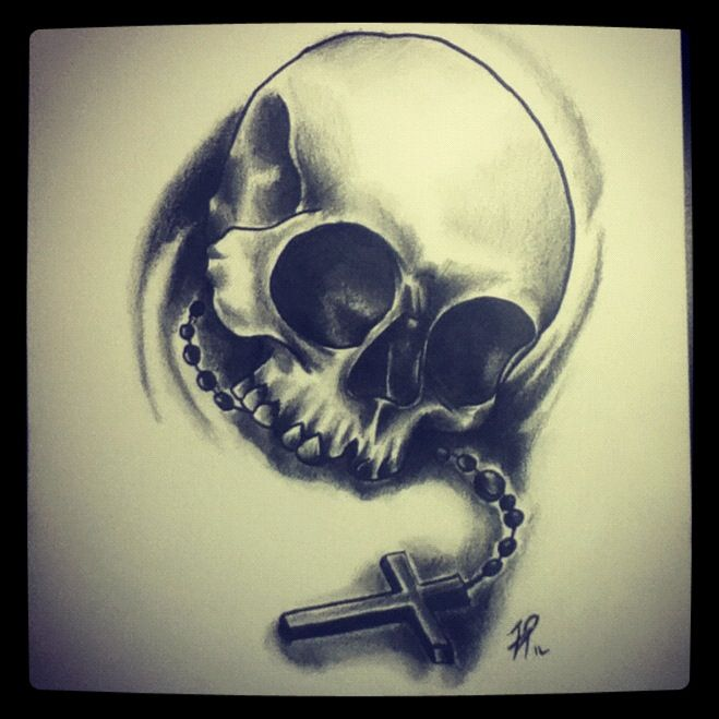 Skull and Rosary by P-O-R-K-Y