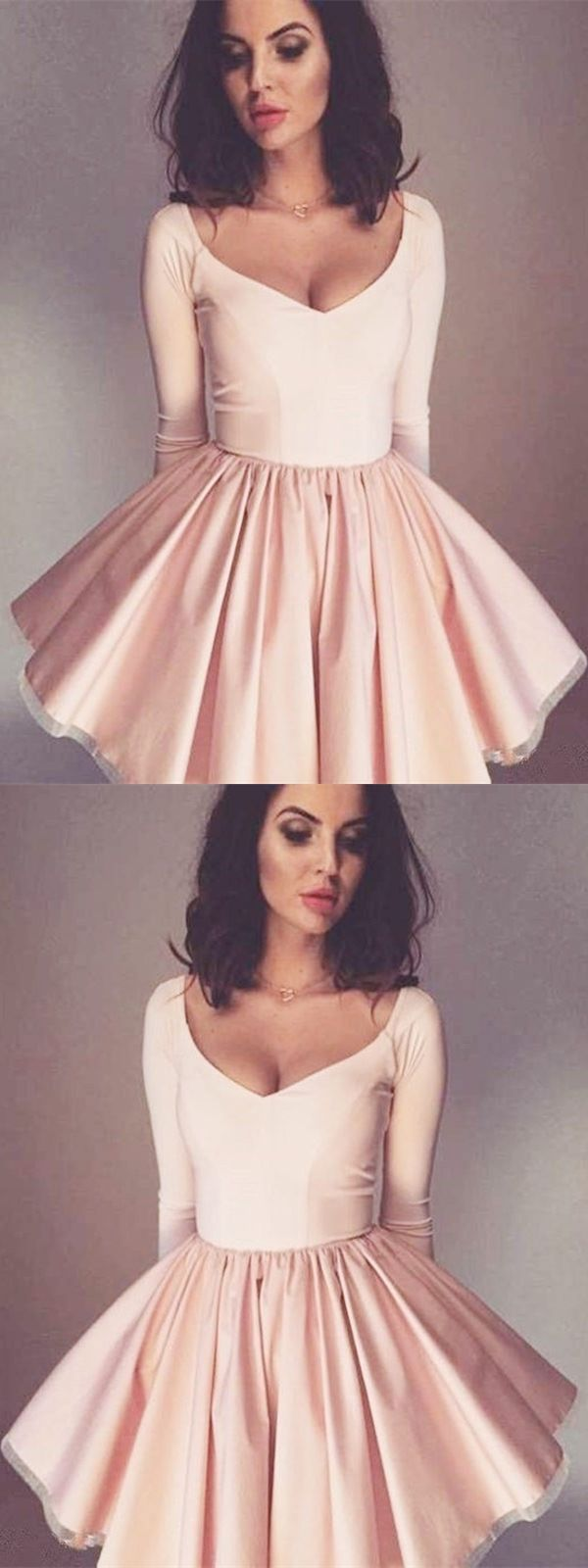 Aline vneck long sleeves pink short homecoming dress k