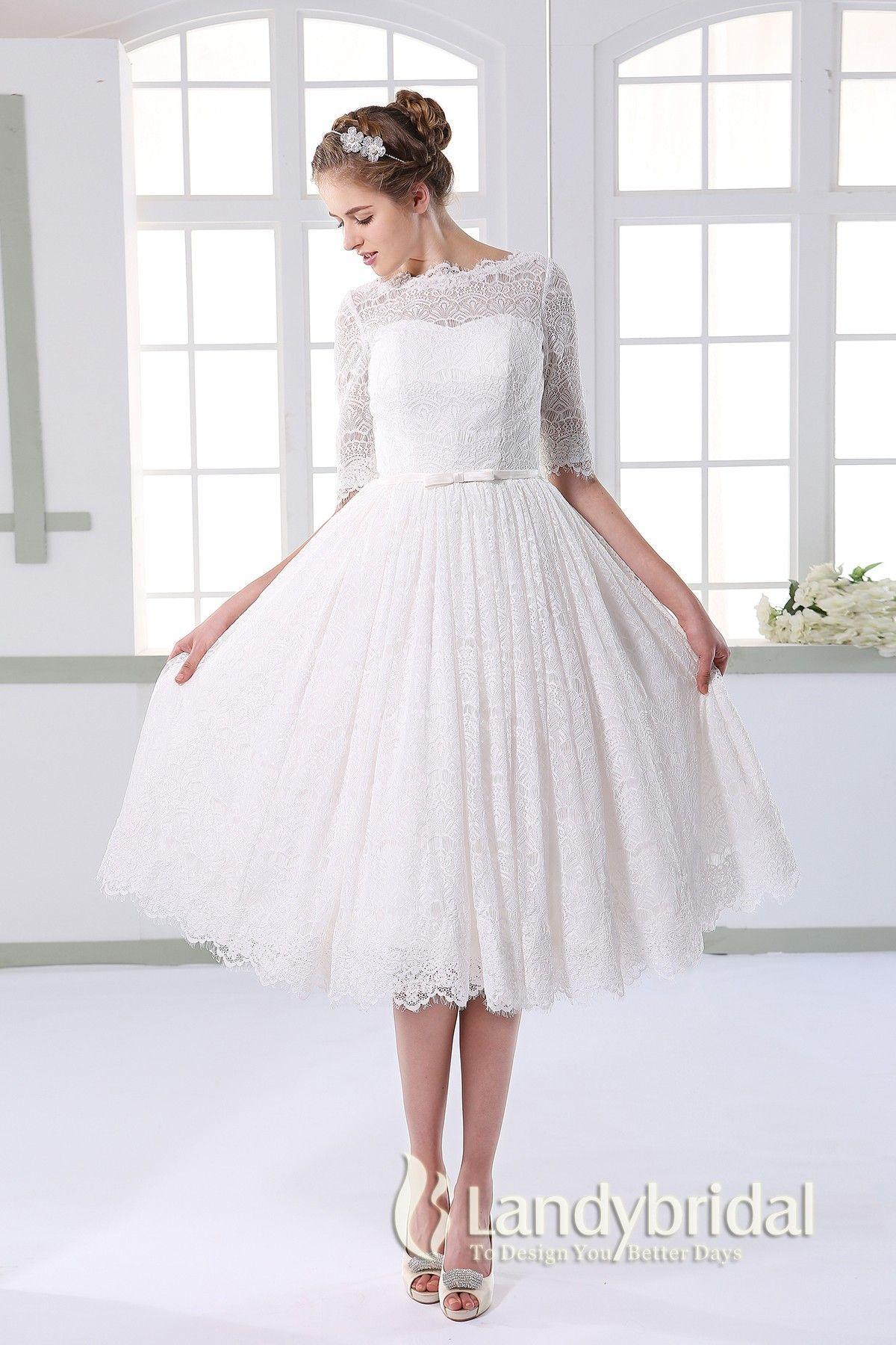 ウェディングドレス ミモレ丈 柔らかいレース ボートネック 半袖 二次会ドレス JWXK15002 価格 ¥38,880
