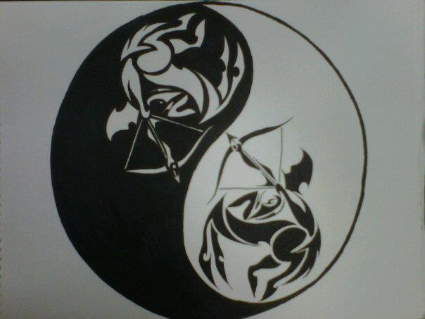 d9f910a9bbc tribal Sagittarius ying-yang tattoo design by Gwen N.