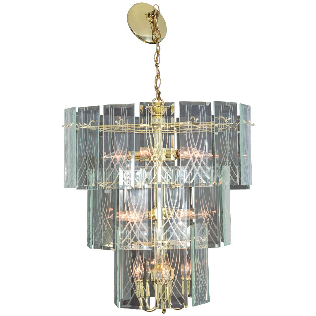 Lightolier Chandelier Pendant 1970s Vintage Three Tier American Modern Brass Glass Chandelier Vintage Chandelier Chandelier For Sale