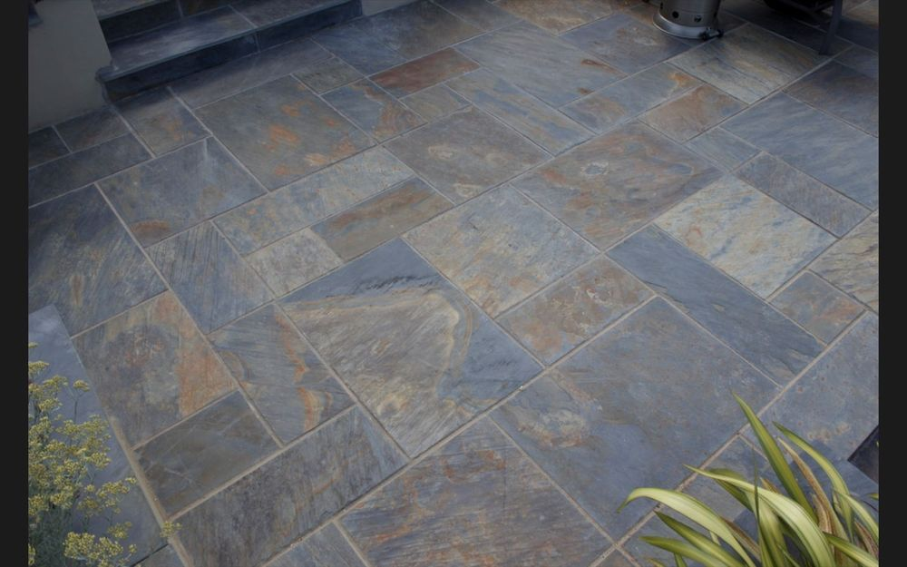 Rustic copper slate paving slabs garden patio stone for Garden decking and slabs