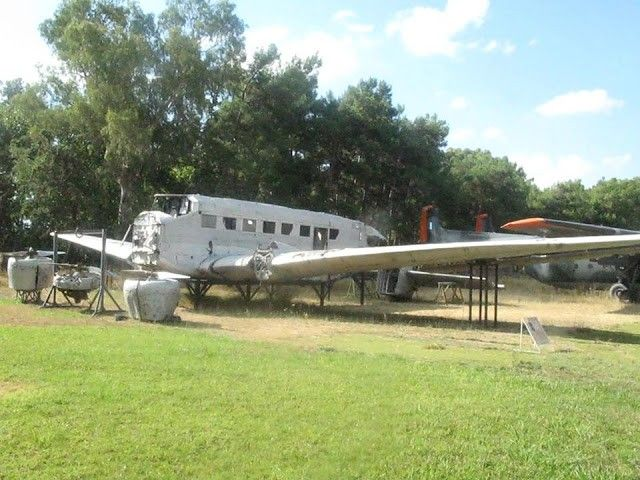 The Junkers Ju-52 at the exterior of the Hellenic Air Force Museum.In 2003, a Ju 52, which was shot down over Alinda Bay in Leros on 13/14 November 1943, was salvaged after a difficult operation and was transported back to the Hellenic Air Force Museum in Tatoi, Athens, to be maintained and exhibited.