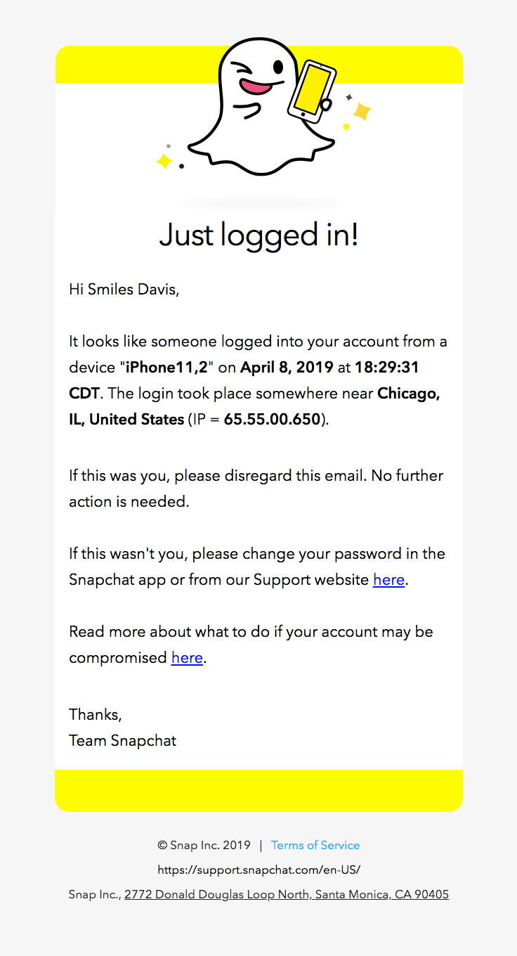 Snapchat Sent This Email With The Subject Line Snapchat Login On April 8 2019 Read About This Email And Find More Alert Emails At Real With Images Email Snapchat Login