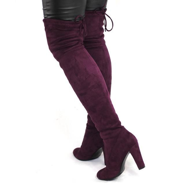 9dc530d0201b Spring Autumn Woman Boots Fashion Thigh High Heel Boots Sexy Over the Knee  Stretch Slim Boot for Women Over knee Shoes Flock