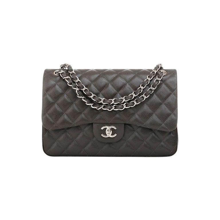 Chanel Dark Grey Quilted Caviar Classic Jumbo 2 55 Double Flap Bag 5900 Designer Shoulder Bags Bags Shoulder Bag