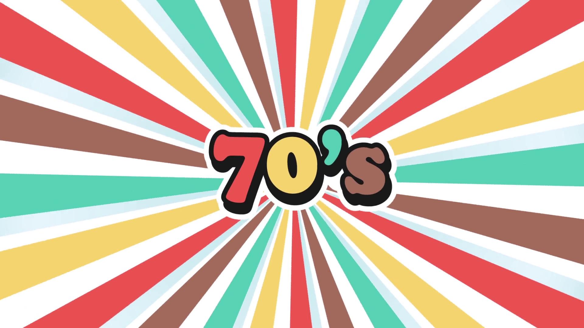 70s Logo Sunburst Vintage Background. Video Animation