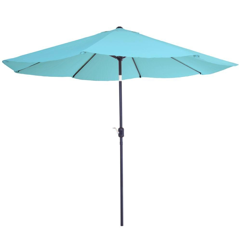 Pure Garden 10 Ft Aluminum Patio Umbrella With Auto Tilt In Blue Patio Umbrellas Aluminum Patio Patio