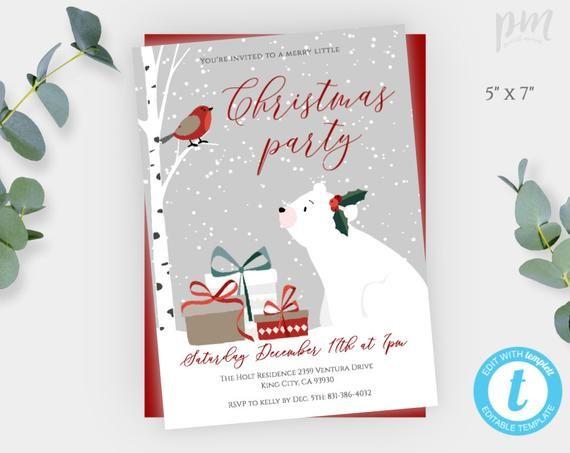 Polar Bear Christmas Party Invitation Template, Merry Little