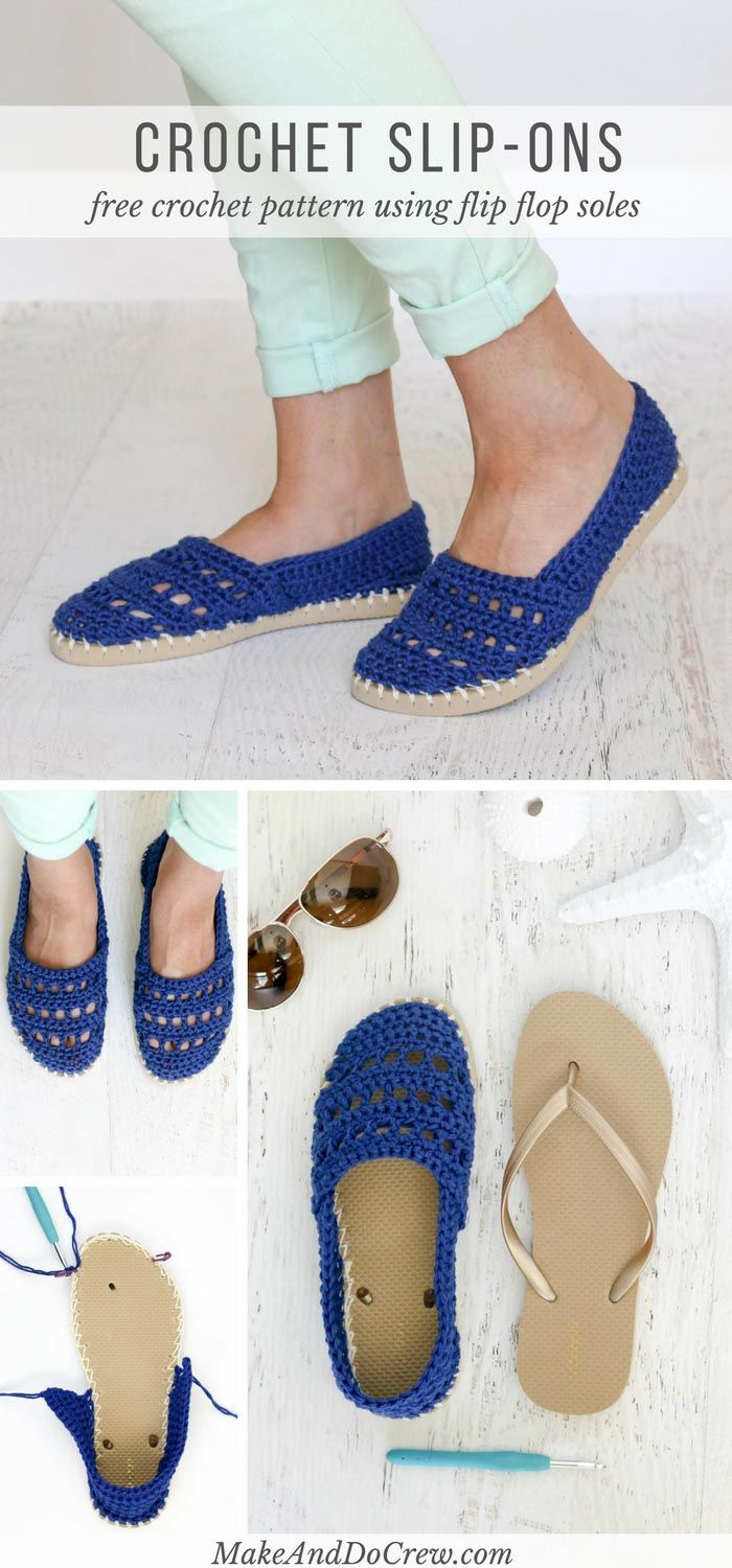 63b924b61794e These crochet slip-on shoes come together easily with cotton yarn and a  pair of flip flops. Wear them to cruise the boardwalk or when frolicking on  the ...