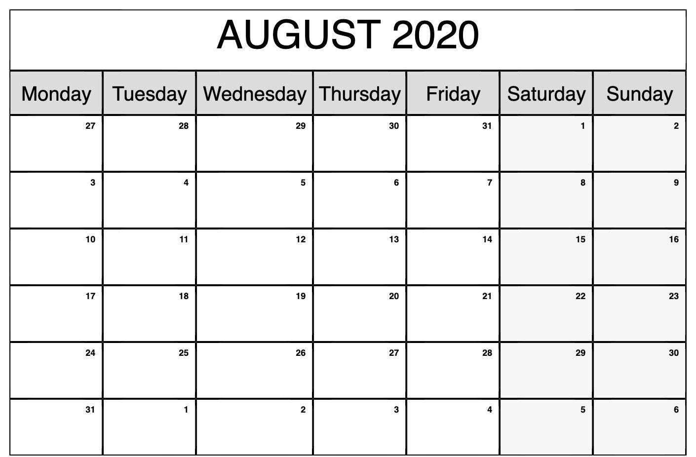 Fillable August 2020 Calendar Blank Template Free Printable
