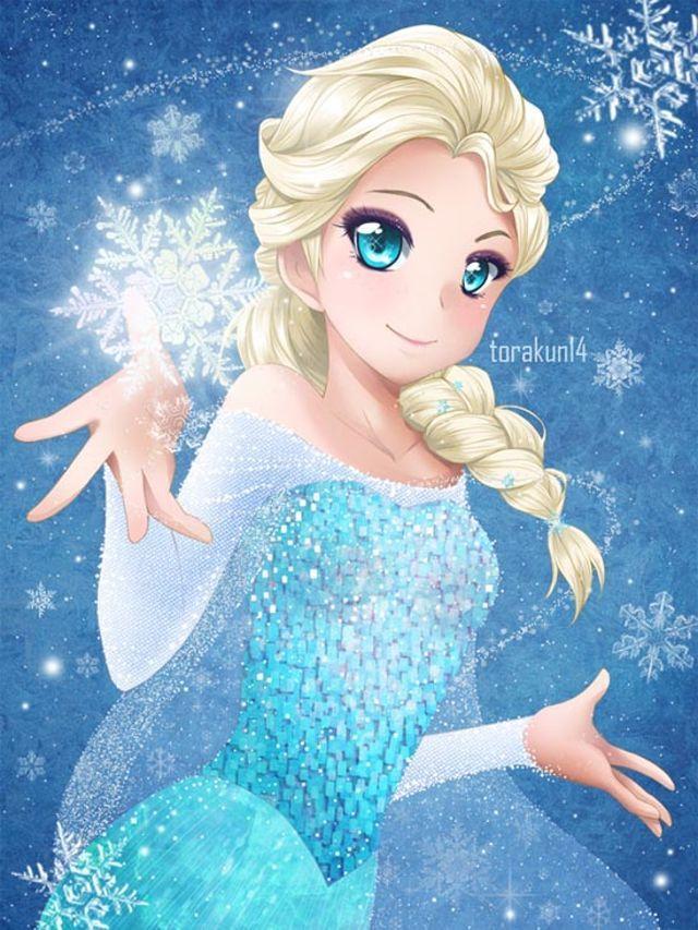 Disney Characters Anime Style Frozen's Queen Elsa Elsa