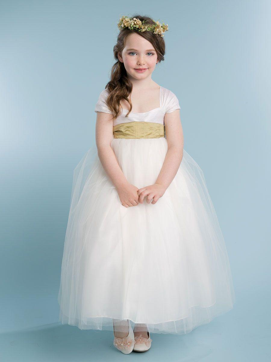 bb16462ffdd Silk Top Off Shoulder Flower Girl Dress