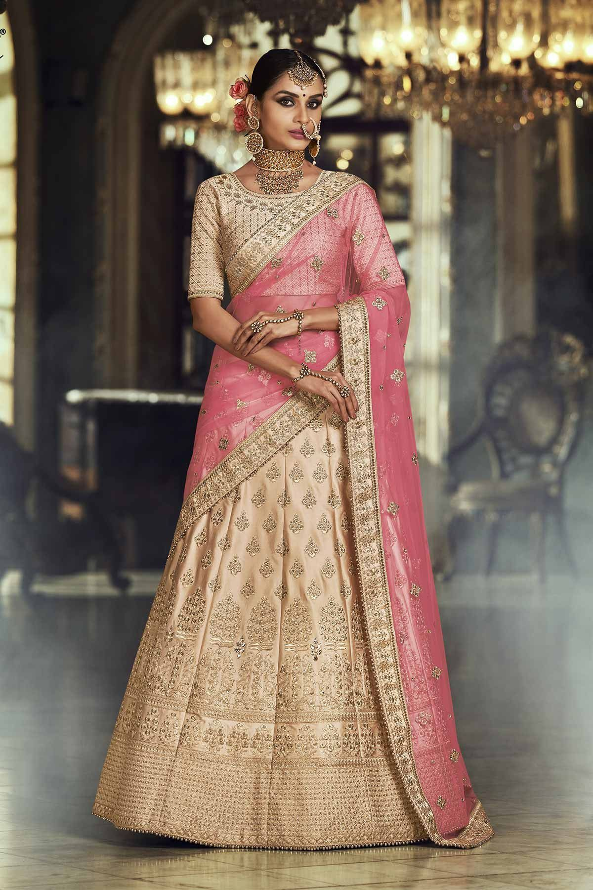 de7ae6d78 Buy Chickoo and pink satin silk Indian wedding lehenga in UK