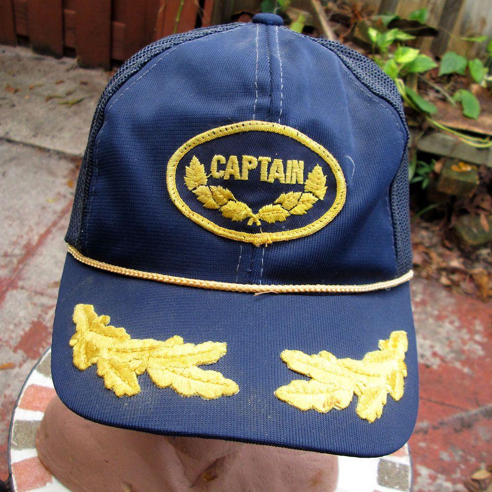 5cf37187cb Vintage Patch Captain Hat Mesh Snapback Hat Cap Ivy Leaves Sailing ...