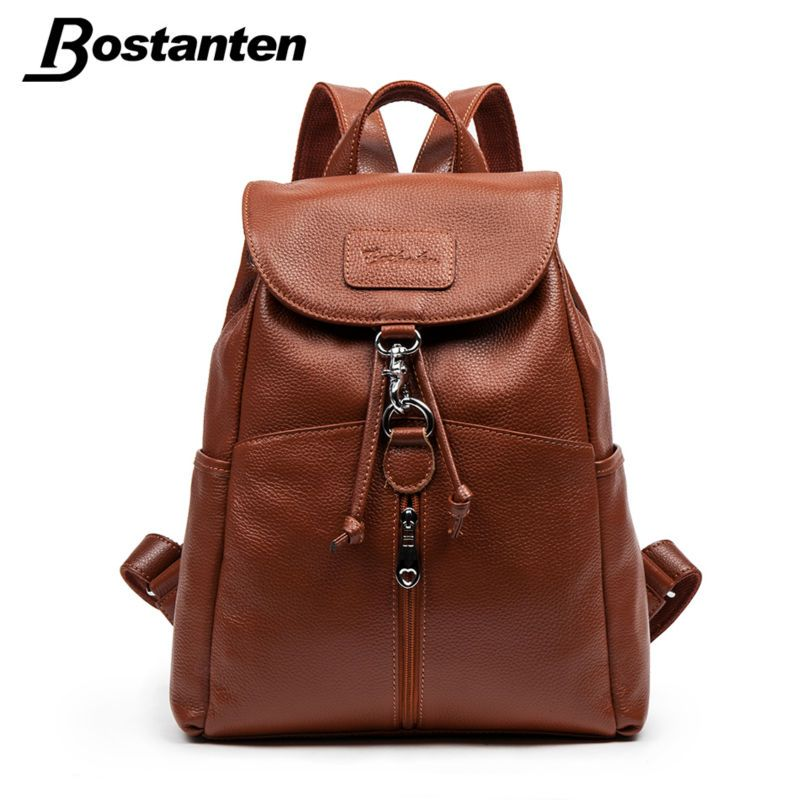 b8afe2662d8 Bostanten Fashion Genuine Leather Backpack Women Small Backpack ...