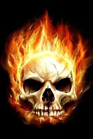 Skull on fire skulls pinterest grim reaper skull on fire voltagebd Choice Image