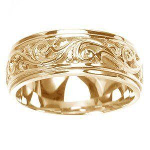 Women S 14k Yellow Gold Ornately Carved Wedding Band 7 Mm Sea Of Diamonds 550 40 Swirl Engagement Rings Yellow Gold Wedding Ring Wedding Rings For Women