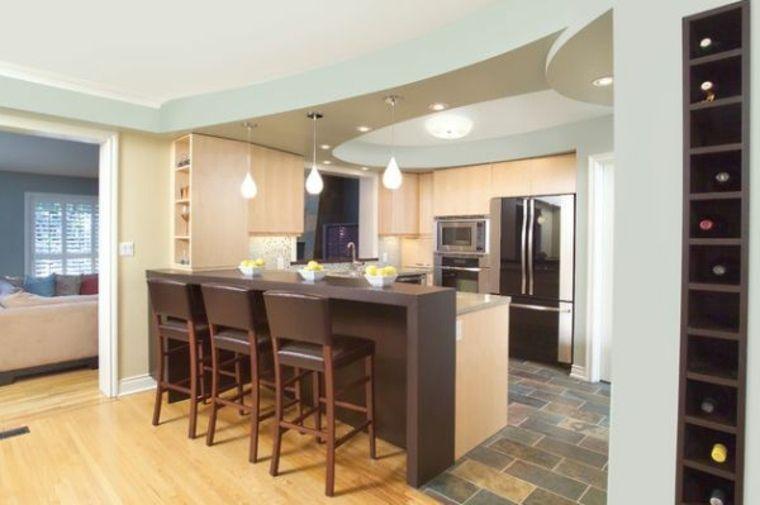 Beau Eclairage Faux Plafond Cuisine #11: Faux Plafonds Modernes Pour Mettre En Valeur La Pièce - | Cuisine And Design