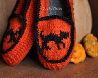 "Crochet Women Slippers ""Halloween"" Custom Made"