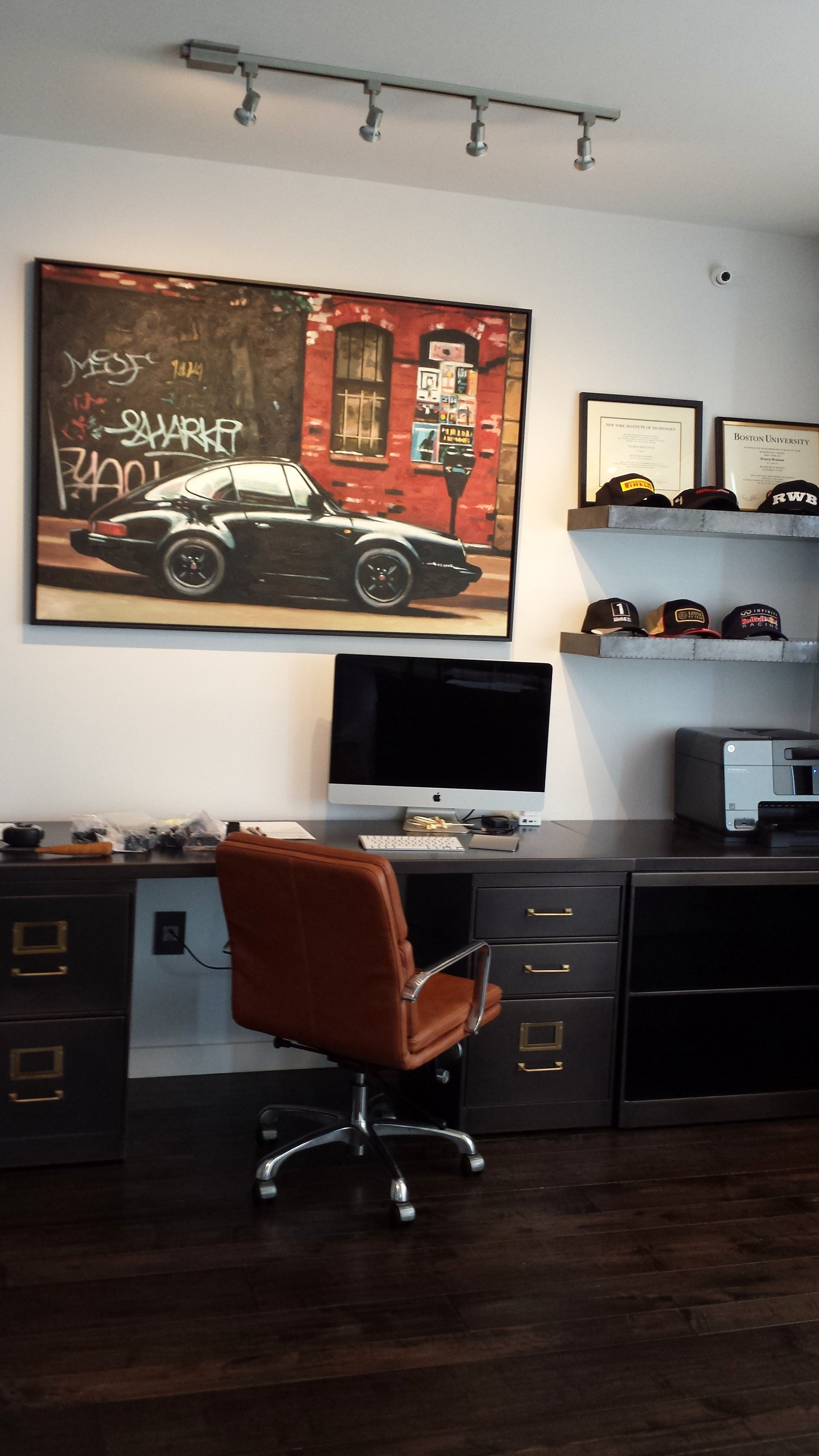 Great home office area for the men! Masculine home