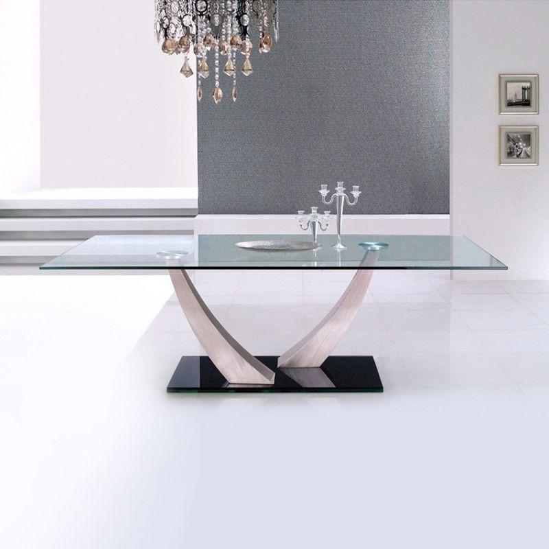 Table A Manger Rectangulaire Verre Trempe Et Metal Chrome Klane Lestendances Fr Table A Manger Salle A Manger Table Carree Table A Manger Rectangulaire