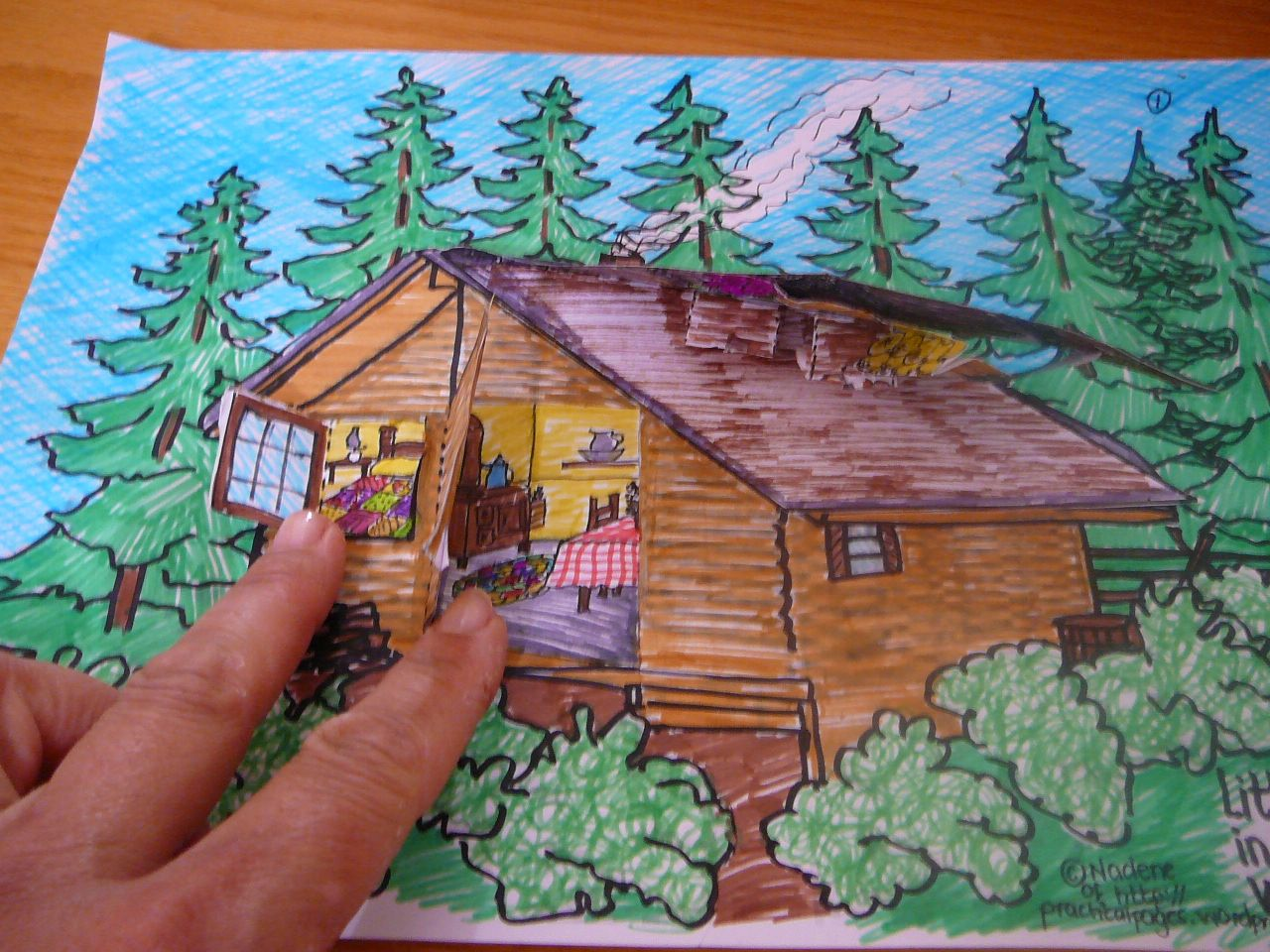 Our 3 Dimensional Model Of Little House In The Big Woods Little House House In The Woods Wood Illustration