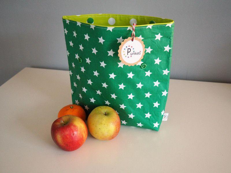 Brotbeutel & Lunchbags - Lunchbag - Brotbeutel - Bikinibag Sterne + Punkte - ein Designerstück von Punketi bei DaWanda