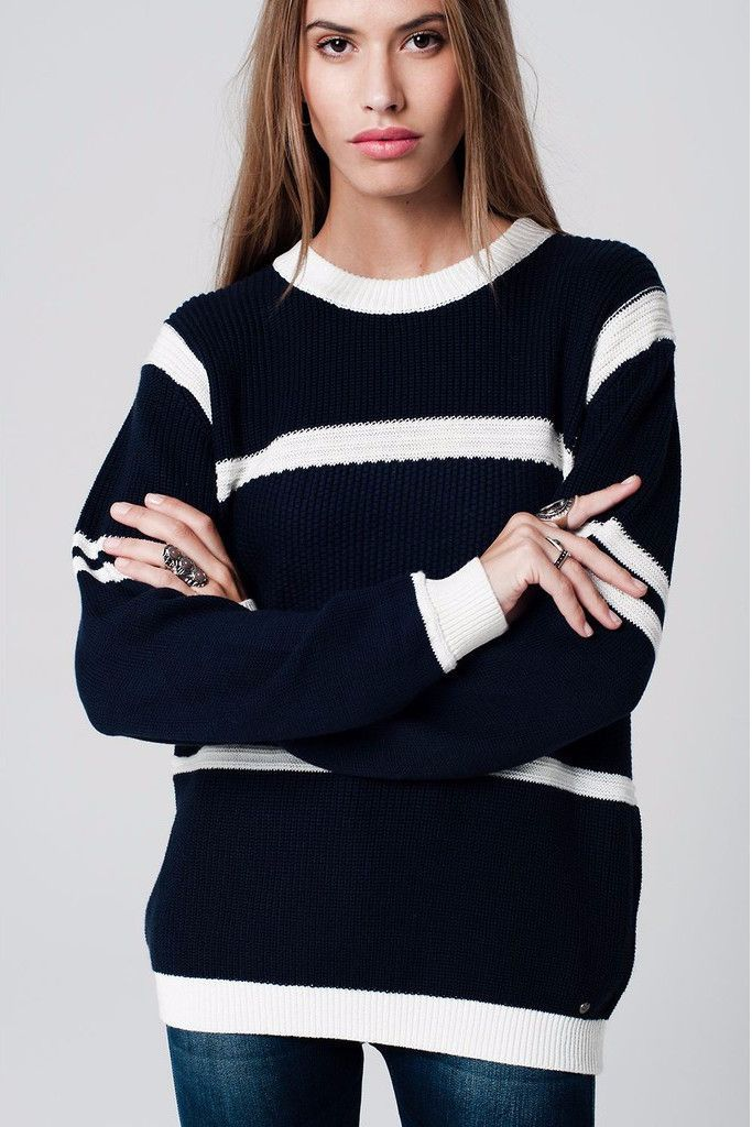 Navy sweater with knitted structure
